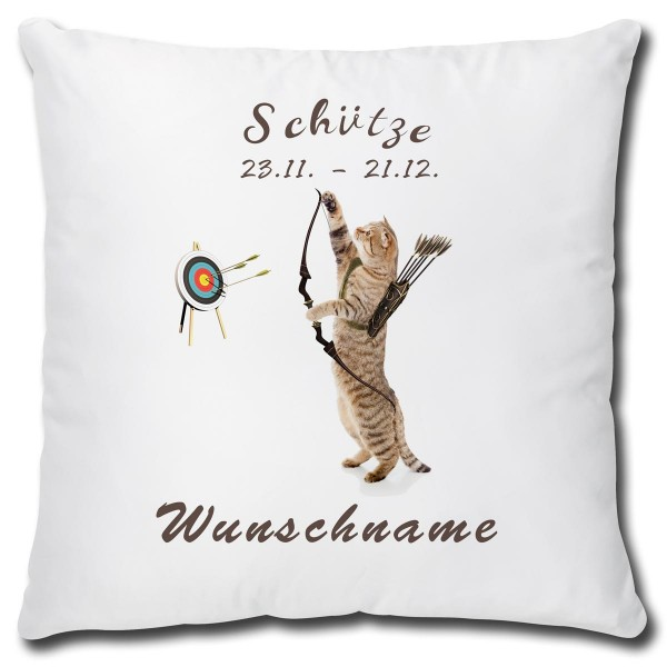 Sternzeichen Schütze Katze, Kissen 40x40 cm personalisiert