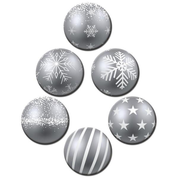 Weihnachtsbaumkugel Silber, Glasmagnettafel Magnete 6er-Set Ø 5 cm