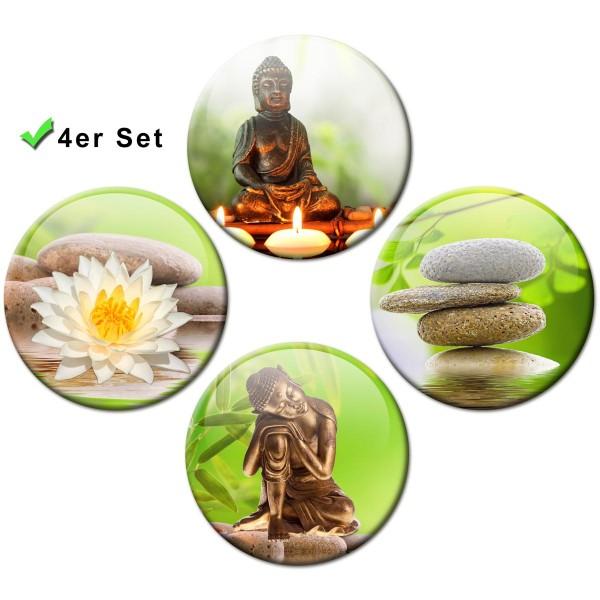 Magnete 4er-Set Buddha Wellness - Ø 5 cm