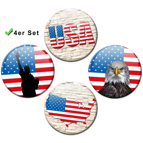 Magnete 4er-Set Länderflaggen USA Wall - Ø 5 cm