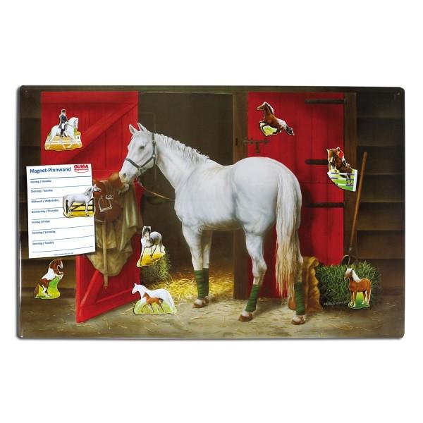 Magnetpinnwand 60 x 40 cm Reitstall/Pferd inkl. 8 Magnete Pferde