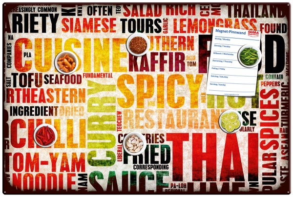 "Magnettafel 60 x 40 cm Würziges Essen ""Spicy Food"" inkl. 6 Magnete Gewürze"