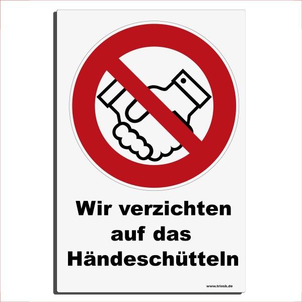 Kein Händeschütteln, Blechschild 30x20 cm