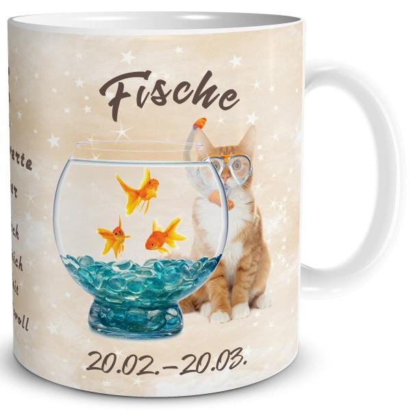 Sternzeichen Fische Katze, Tasse 300 ml