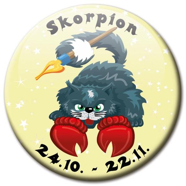 Magnet Katze - Sternzeichen Skorpion - Ø 5 cm