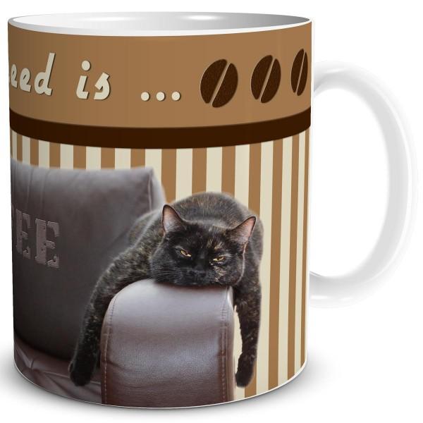 Katze All you need is Coffee, Tasse 300 ml