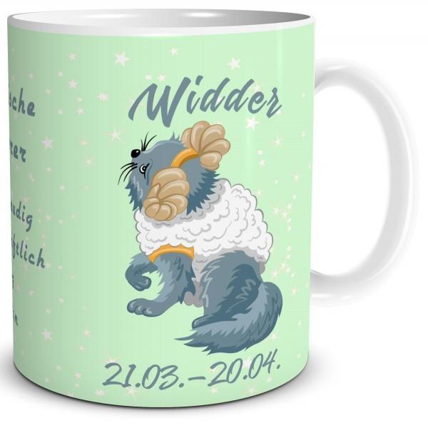 Sternzeichen Widder Katze Cartoon, Tasse 300 ml
