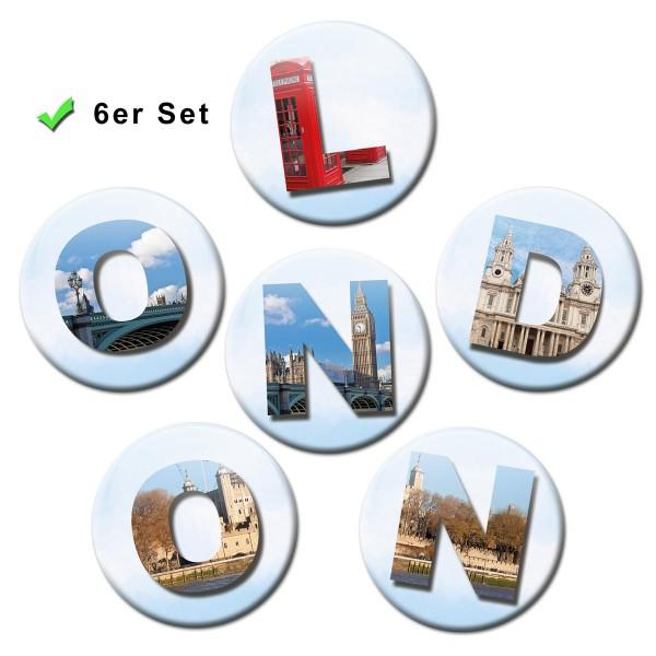 London Letters, Kühlschrankmagnete 6er-Set Ø 5 cm