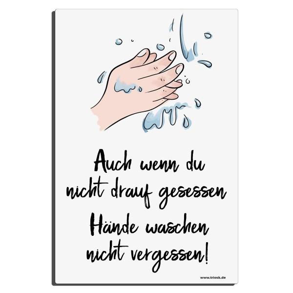Händewaschen Hinweis, Blechschild 30x20 cm