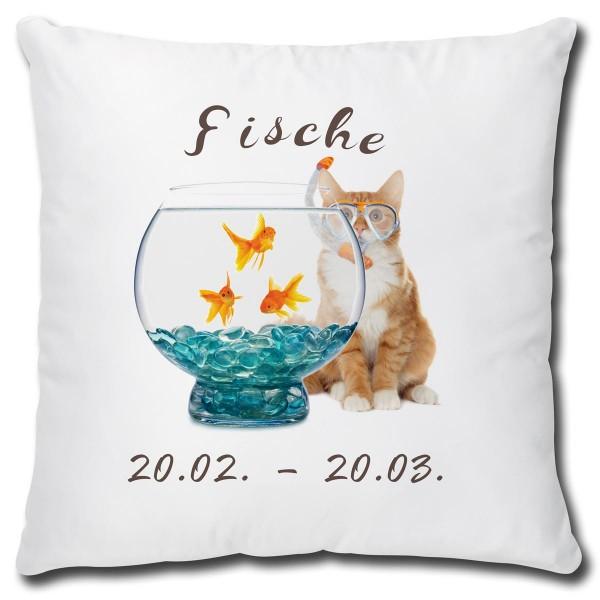Sternzeichen Fische Katze, Kissen 40x40 cm