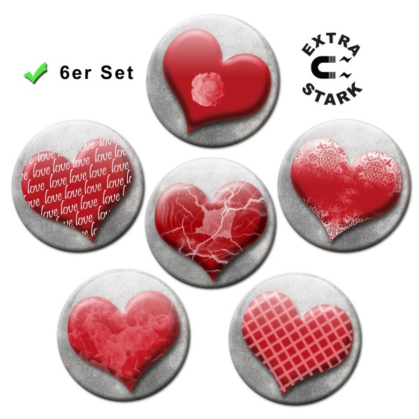 Romantische Herzen, Glasmagnettafel Magnete 6er-Set Ø 5 cm
