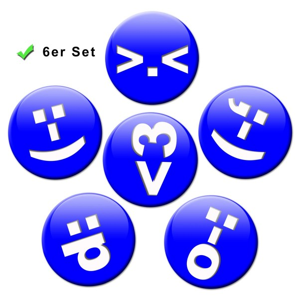 Chat Icon Blau, Kühlschrankmagnete 6er-Set Ø 5 cm