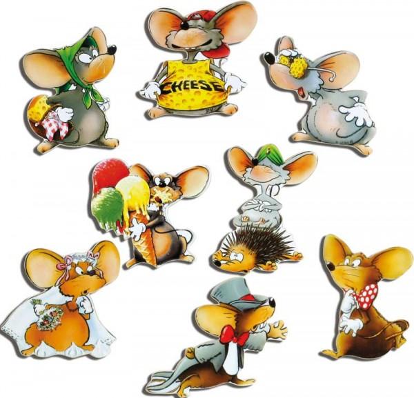 Magnete 8er-Set Mäuse