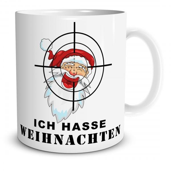 """Tasse mit Fadenkreuz und Spruch """"Ich hasse Weihnachten"""""""