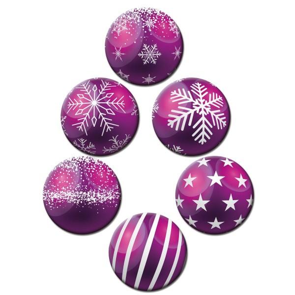 Weihnachtsbaumkugel Lila, Glasmagnettafel Magnete 6er-Set Ø 5 cm