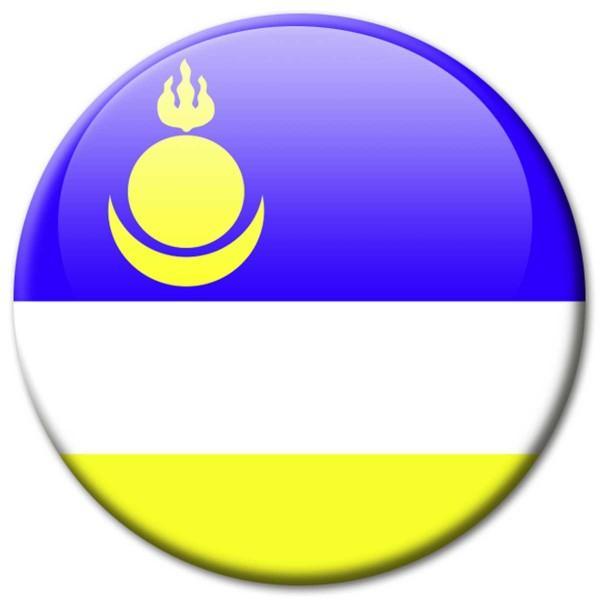 Flagge Burjatien, Magnet 5 cm
