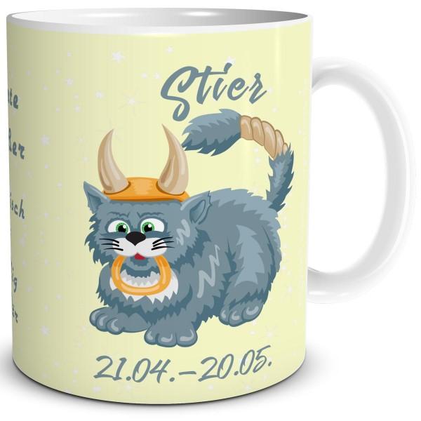 Sternzeichen Stier Katze Cartoon, Tasse 300 ml