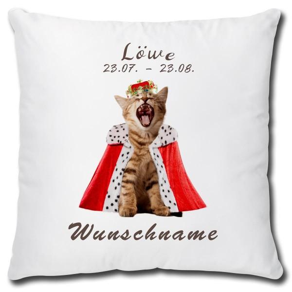 Sternzeichen Löwe Katze, Kissen 40x40 cm personalisiert