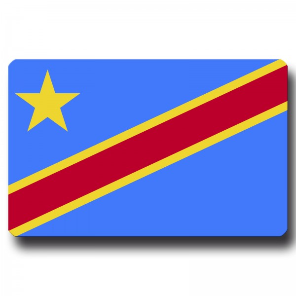 Flagge Kongo Demokratische Republik, Magnet 8,5x5,5 cm