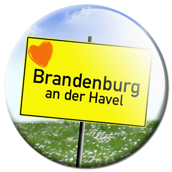 Magnet Ortsschild I love Brandenburg an der Havel - Ø 5 cm