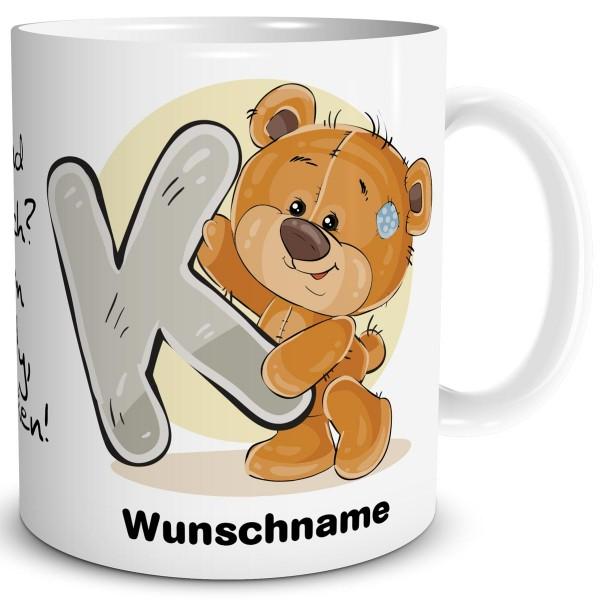 Teddy Bär K mit Wunschname, Tasse 300 ml, Weiß