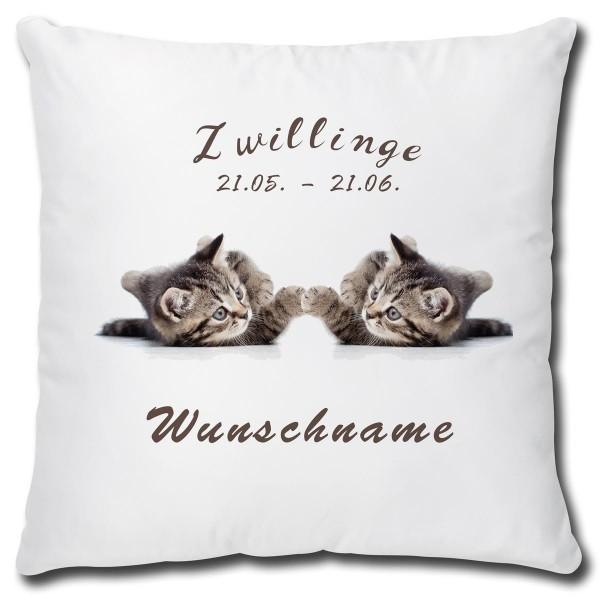 Sternzeichen Zwillinge Katze, Kissen 40x40 cm personalisiert