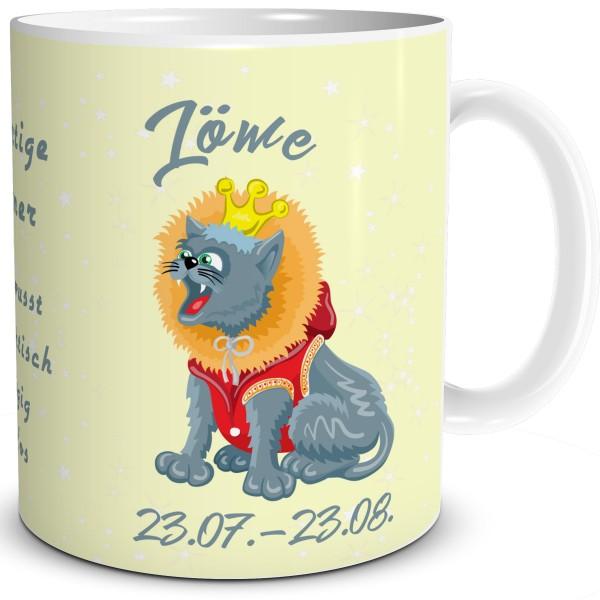 Kaffeetasse mit Katze als Sternzeichen Löwe