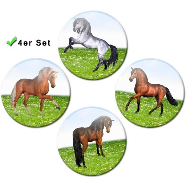 Magnete 4er-Set Pferde auf der Wiese - Ø 5 cm
