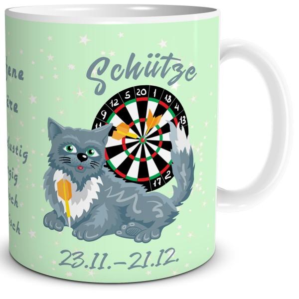 Kaffeetasse mit Katze als Sternzeichen Schütze
