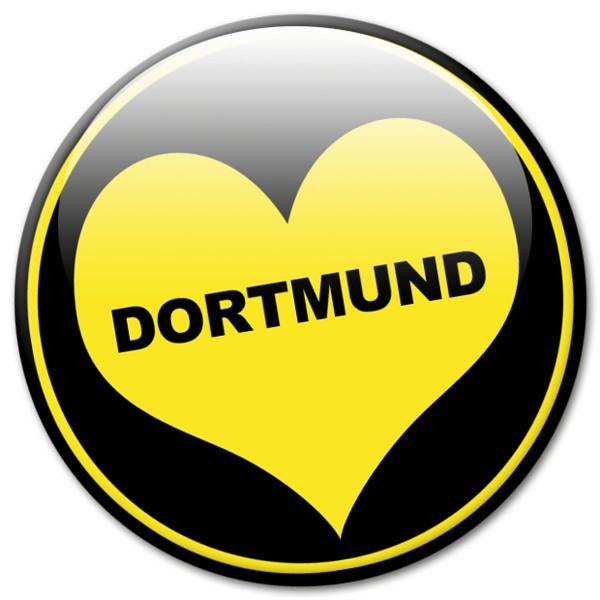 Fan Magnet Stadt Dortmund mit Herz Schwarz-Gelb - Ø 5 cm