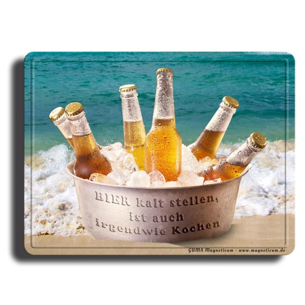 Bier kaltstellen, Magnet 8x6 cm