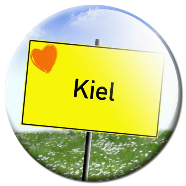 Magnet Ortsschild I love Kiel - Ø 5 cm