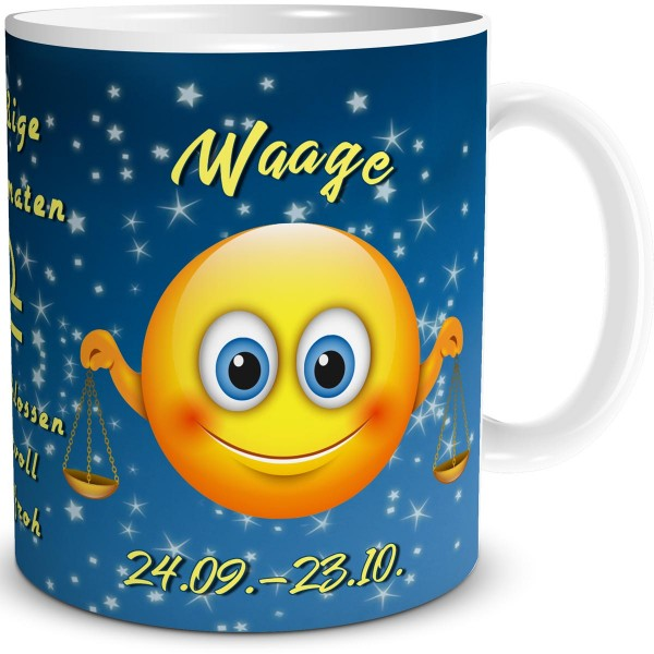 Sternzeichen Waage Smiley, Tasse 300 ml