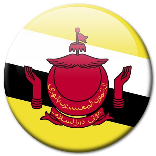 Flagge Brunei, Magnet 5 cm