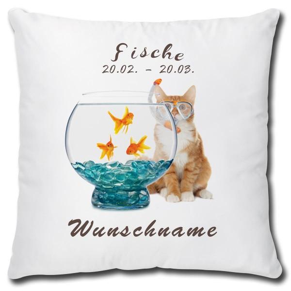 Sternzeichen Fische Katze, Kissen 40x40 cm personalisiert