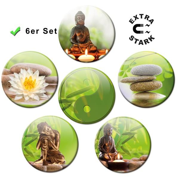 Buddha Wellness, Glasmagnettafel Magnete 6er-Set Ø 5 cm