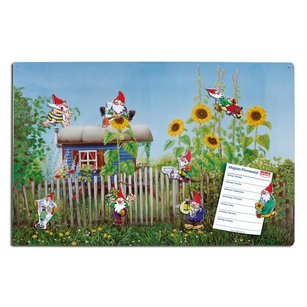 Magnetpinnwand 60 x 40 cm Gartenlaube inkl. 8 Magnete Gartenzwerge