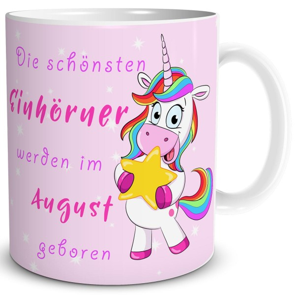 Die schönsten Einhörner August, Einhorn Tasse 300 ml, Rosa