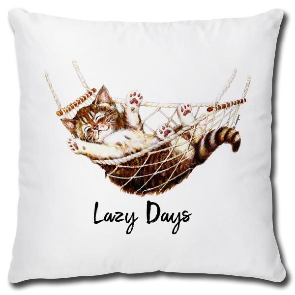 Katze in Hängematte Lazy Days, Kissen 40x40 cm