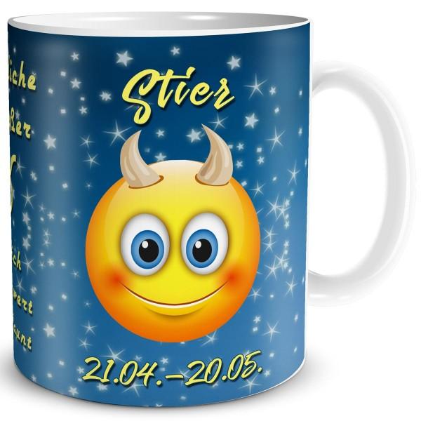 Sternzeichen Stier Smiley, Tasse 300 ml