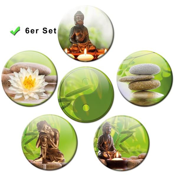 Buddha Wellness, Kühlschrankmagnete 6er-Set Ø 5 cm