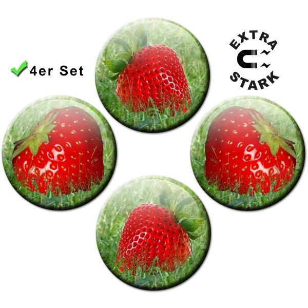 Magnete für Glasmagnettafel 4er-Set Erdbeeren - Ø 5 cm