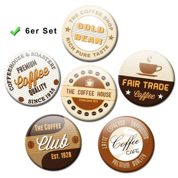 Kaffee Label, Kühlschrankmagnete 6er-Set Ø 5 cm