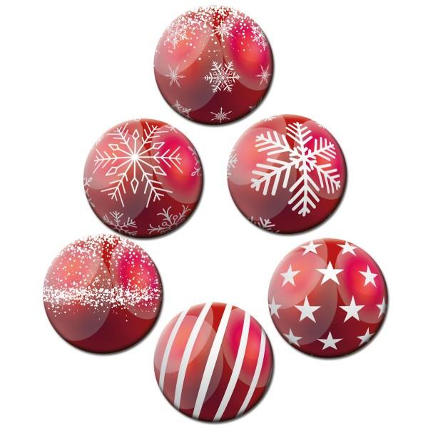 Weihnachtsbaumkugel Rot, Glasmagnettafel Magnete 6er-Set Ø 5 cm