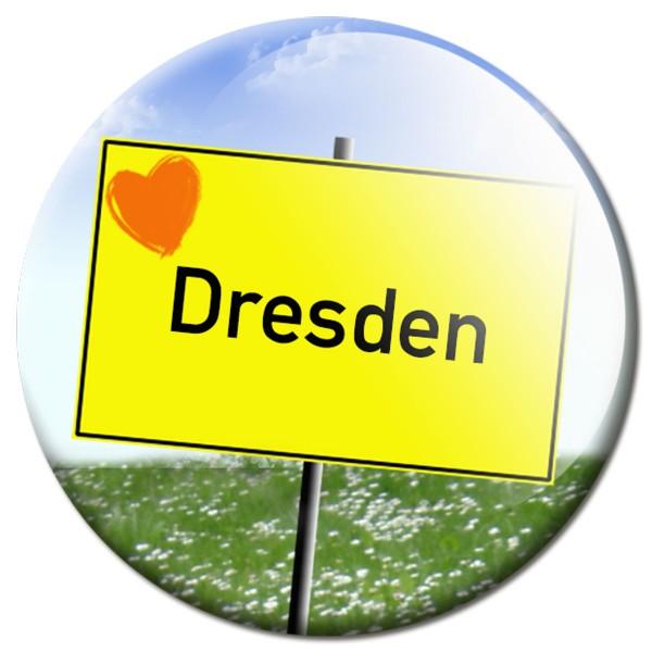 Magnet Ortsschild I love Dresden - Ø 5 cm