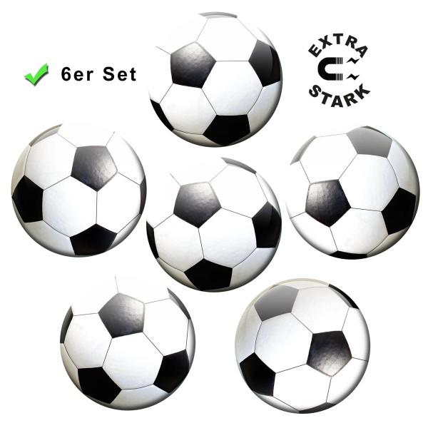 Fußball, Glasmagnettafel Magnete 6er-Set Ø 5 cm