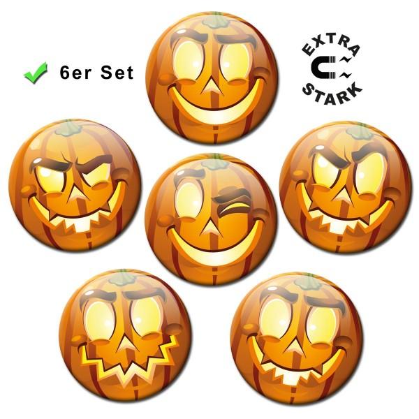 Smiley Halloween Kürbis, Glasmagnettafel Magnete 6er-Set Ø 5 cm