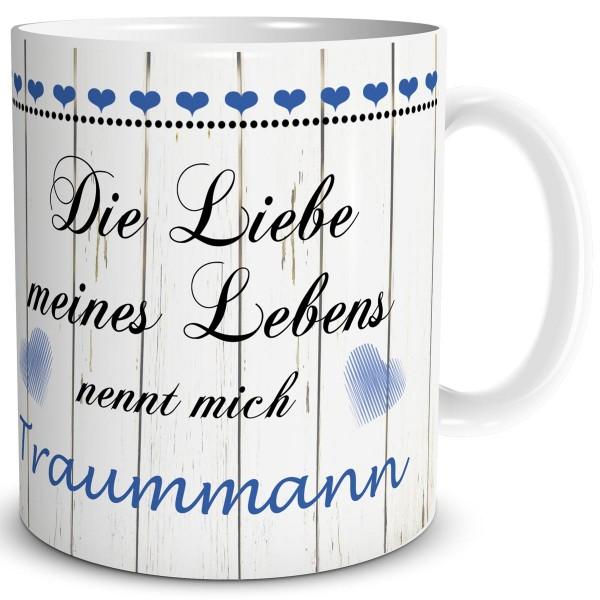 Liebe meines Lebens Traummann, Tasse 300 ml, Blau