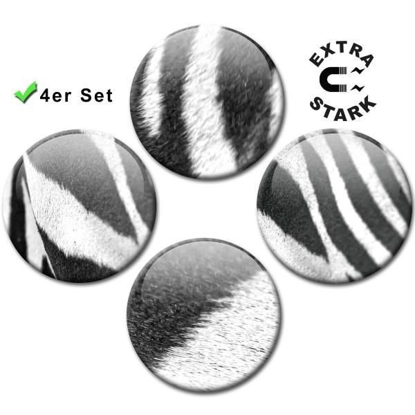 Magnete für Glasmagnettafel 4er-Set Zebra-Muster - Ø 5 cm