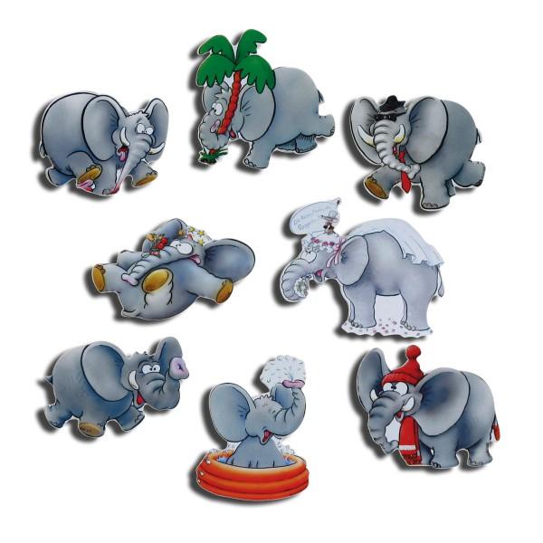 Magnete 8er-Set Elefanten